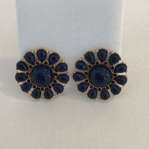 Kate spade navy and gold flower clip earrings